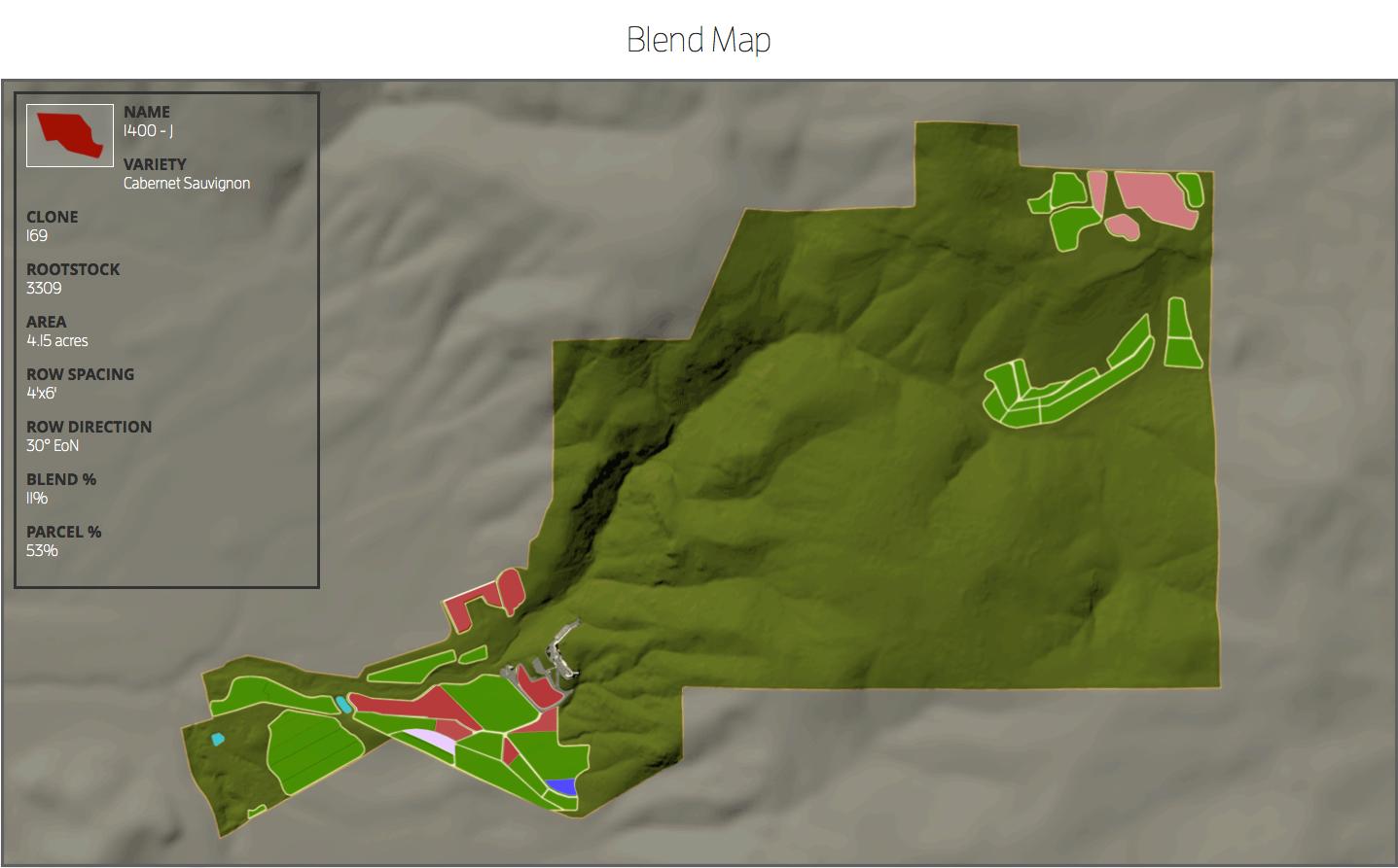 Blend map for the 2011 Palmaz Vineyards Cabernet
